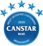 Canstar blue award logo for most satisfied customers 2020, broadband, 5 stars