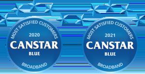 Canstar blue award logo for most satisfied customers 2020, broadband, 5 stars